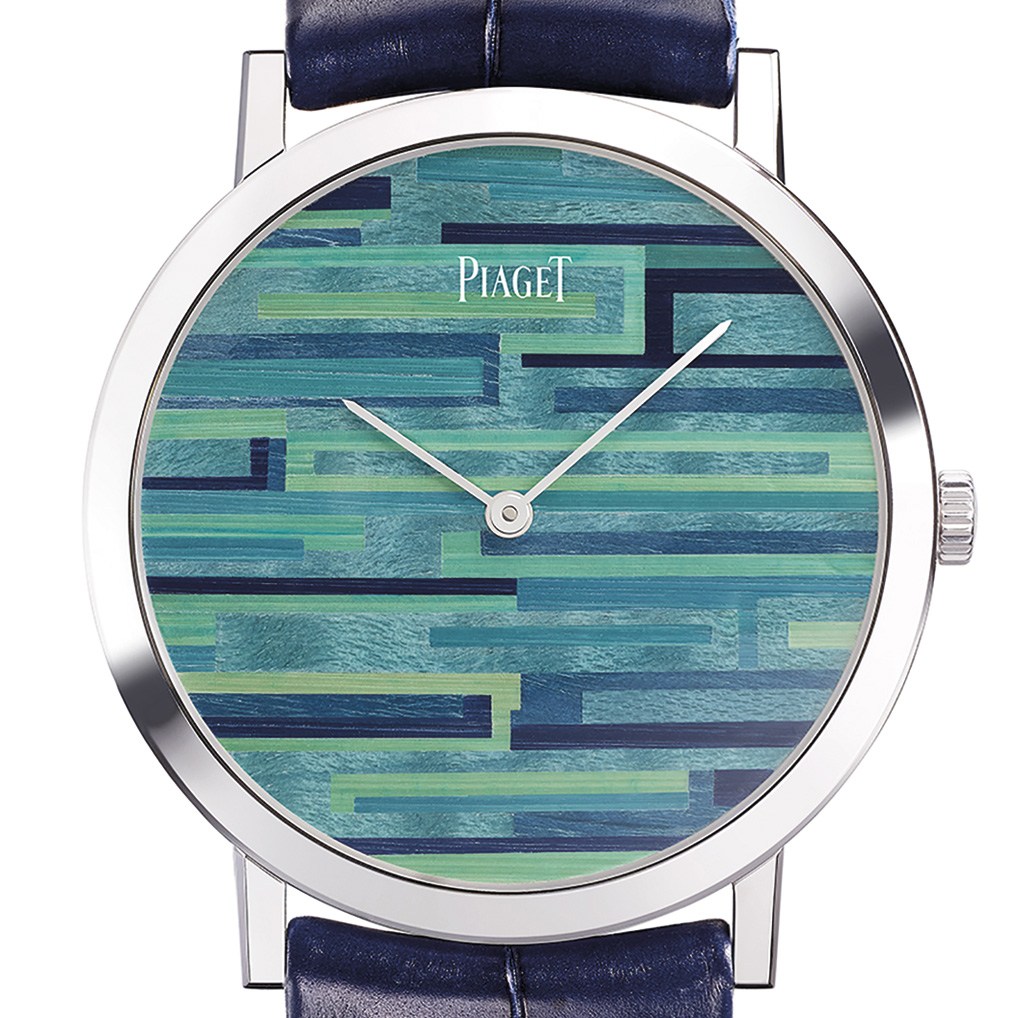 Miniature marquetry on watch dial Piaget Altiplano